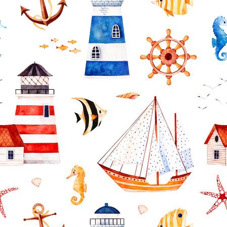 海水彩シームレスパターン。ヒトデ、アンカー、灯台、サンゴの魚、ヨットと多色の背景。招待、パーティーの装飾、印刷可能な、クラフトプロジ