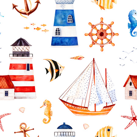 Nautical watercolor seamless pattern.Multicolored background with starfish, anchor, lighthouses, coral fishes, sailboat. Perfect for invitations, party decorations, printable, craft project, wallpaper etc.