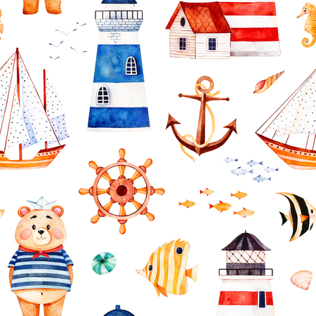 Nautical watercolor seamless pattern.Multicolored background with cute sailor bear, anchor, lighthouses, coral fishes, sailboat. Perfect for invitations, party decorations, printable, craft project, wallpaper