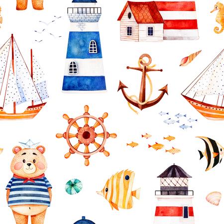 Nautische aquarel naadloze patroon. Veelkleurige achtergrond met schattige matroos Beer, anker, vuurtorens, koraal vissen, zeilboot. Perfect voor uitnodigingen, feestdecoraties, printbaar, knutselproject, behang Stockfoto