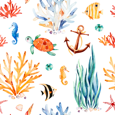 Underwater multicolored seamless pattern.Seaworld watercolor background with cute turtle, seahorse, coral reef, seaweed, anchor.Perfect for invitations, party decorations, printable, craft project, wallpaper.