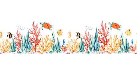 かわいいカメ、海藻、サンゴ礁、魚、海馬などと海洋の生き物シームレスな繰り返し水中の生き物招待、パーティーの装飾、印刷可能な、クラフト