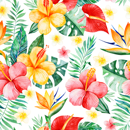 Handpainted watercolor seamless pattern with multicolored flowers, tropical leaves, branch on white background.Tropical background.Perfect for your project, wedding, packaging, wallpaper, cover design Фото со стока