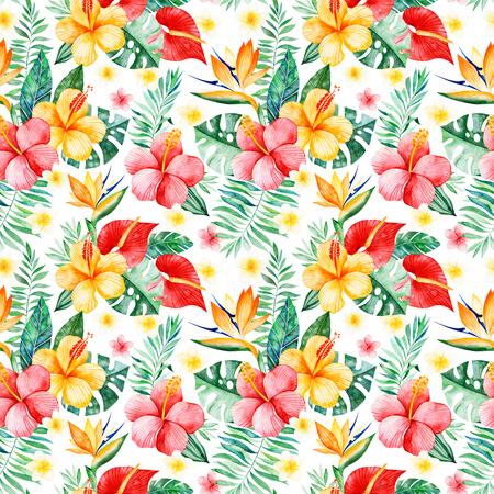 多色の花、熱帯の葉、白い背景に枝と手描きの水彩シームレスなパターン。熱帯の背景。あなたのプロジェクト、結婚式、パッケージング、壁紙、