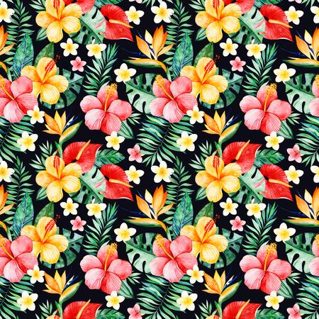 여러 가지 빛깔 된의 꽃, 열 대 나뭇잎, 검은 배경에 지점 Handpainted 수채화 원활한 패턴. 열 대 배경입니다. 프로젝트, 결혼식, 포장, 벽지, 표지 디자인