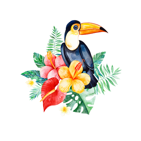 Tropical watercolor bouquet with greens, branch, exotic flowers, tropical leaves, foliage, palm leaves, toucan.Perfect for wedding, invitations, greeting cards, quotes, pattern,  birthday cards, pattern,