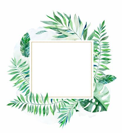 Tropisch groen bloemenframe met kleurrijke tropische bladeren. Tropische jungle collectie. Perfect voor bruiloft, frame, citaten, patroon, wenskaart, logo, uitnodigingen, belettering enz Stockfoto