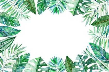 Aquarel frame grens. Textuur met greens, tak, bladeren, tropische bladeren, gebladerte, bamboe. Perfect voor bruiloft, uitnodigingen, wenskaarten, citaten, patroon, verjaardagskaarten, belettering enz. Stockfoto