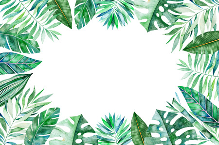 Watercolor frame border.Texture with greens, branch, leaves, tropical leaves, foliage, bamboo.Perfect for wedding, invitations, greeting cards, quotes, pattern,  birthday cards, lettering etc