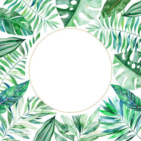 Aquarel frame grens. Textuur met groen, tak, bladeren, tropische bladeren, gebladerte, bamboe. Perfect voor bruiloft, uitnodigingen, wenskaarten, citaten, patroon, logo's, verjaardagskaarten, belettering enz. Stockfoto