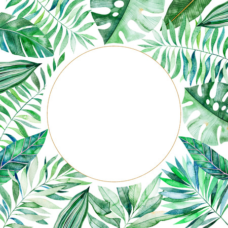 Watercolor frame border.Texture with greens, branch, leaves, tropical leaves, foliage, bamboo.Perfect for wedding, invitations, greeting cards, quotes, pattern, logos, birthday cards, lettering etc