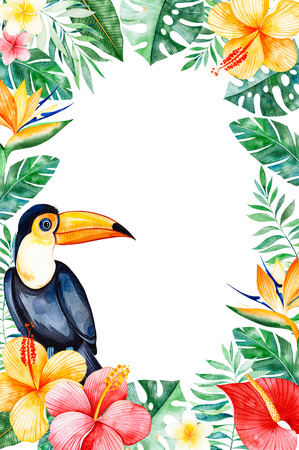 Watercolor tropical border border.Texture with greens, branch, exotic flowers, tropical leaves, foliage, palm leaves, toucan.Perfect for wedding, invitations, greeting cards, quotes, pattern, Birthday cards