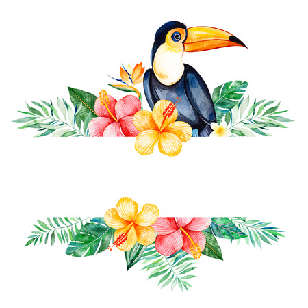Watercolor tropical border border.Texture with greens, branch, exotic flowers, tropical leaves, foliage, palm leaves, toucan.Perfect for wedding, invitations, greeting cards, quotes, pattern, logos, Birthday cards