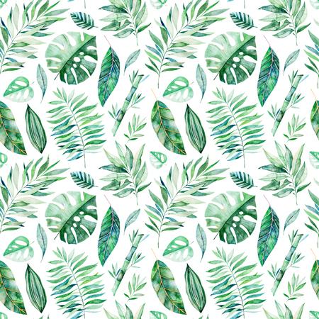 水彩画は、白い背景に枝シームレスなパターンを残します。緑、枝、葉、熱帯の葉、葉、竹とのテクスチャ。結婚式、カバーデザイン、壁紙、パタ