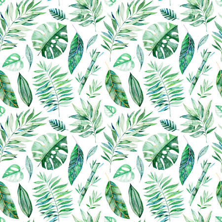 Watercolor leaves branch seamless pattern on white background. Texture with greens, branch, leaves, tropical leaves, foliage, bamboo.Perfect for wedding, cover design, wallpapers, patterns, packaging etc Stock Photo