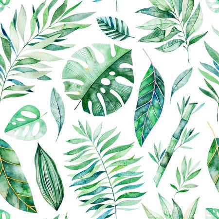 De waterverfbladeren vertakken zich naadloos patroon op witte achtergrond. Textuur met groen, tak, bladeren, tropische bladeren, gebladerte, bamboe. Perfect voor bruiloft, hoesontwerp, achtergronden, patronen, verpakking enz.