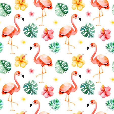 여러 가지 빛깔 된의 꽃, 열 대 잎, 흰색 배경에 홍학 조류 Handpainted 수채화 원활한 패턴. 열 대 배경입니다. 완벽 한 프로젝트, 결혼식, 포장, 벽지, 표지