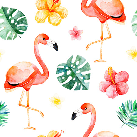 Handpainted watercolor seamless pattern with multicolored flower, tropical leaves, flamingo bird on white background.Tropical background.Perfect for your project, wedding, packaging, wallpaper, cover design