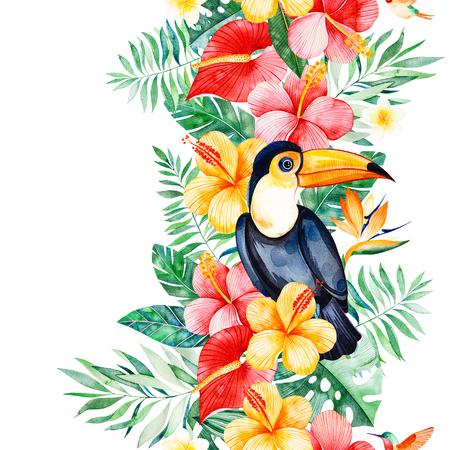 多色の花、熱帯の葉、枝、トゥーカンとハミンバードと熱帯シームレスな繰り返しボーダー。ジャングルの背景。あなたのプロジェクト、結婚式、