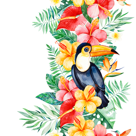 Tropical seamless repeat border with multicolored flowers, tropical leaves, branch, toucan and humminbird.Jungle background.Perfect for your project, wedding, packaging, wallpaper, cover design, print etc