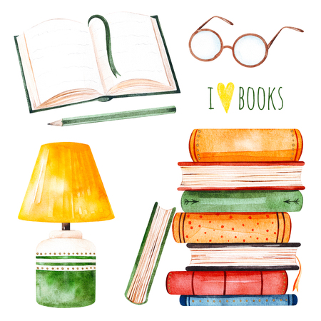 I love books watercolor set.Illustration with a huge stack of books, lamp, open book, pencil and glasses. Perfect for your own design, invitations, quotes, print, wallpapers, scrapbook etc Stock Photo