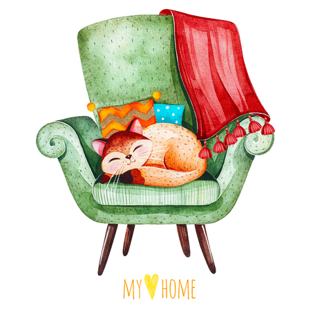 Lovely watercolor illustration.Sleeping cute kitten on cozy green chair with multicolored cushions and plaid.I love home collection.Perfect for invitations, scrapbook, print, quotes, party, wallpapers etc.