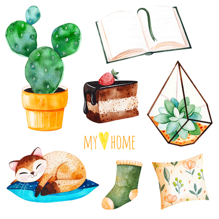 Cozy home set with a home plant, sleeping cute kitten, book, tasty cake, cushion.Watercolor Home collection.Perfect for wallpaper, print, cover design, invitations, packaging design, invitations, scrapbook