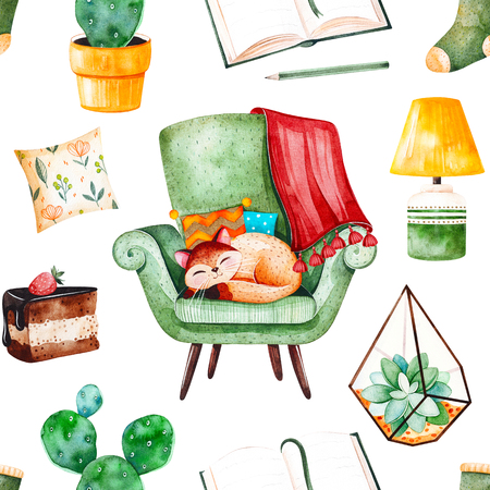 Cozy home seamless pattern with a home-grown plants, green chair with cute kitten, book, tasty cake, cushion, lamp etc.Watercolor Home set.Perfect for wallpaper, print, cover design, invitations, packaging design