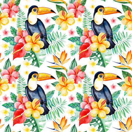 Handpainted watercolor seamless pattern with multicolored flower, tropical leaves, branch, toucan on white background.Tropical background.Perfect for your project, wedding, packaging, wallpaper, cover design