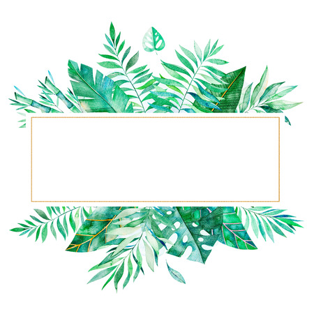 Colorful floral frame with green tropical leaves. Tropical forest collection.Perfect for wedding, frame, quotes, pattern, greeting card, logo, invitations, lettering etc