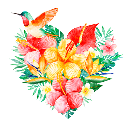 Tropical watercolor bouquet heart with greens, branch, exotic flowers, hummingbird, tropical leaves, foliage, palm leaves.Perfect for wedding, invitations, greeting cards, pattern, logos, birthday cards, pattern Stock Photo