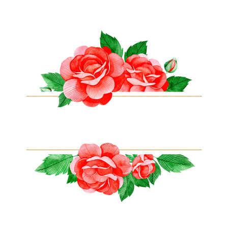 Lovely watercolor frame border with red rose flowers, buds and leaves with place for text