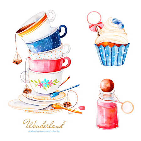 Wonderland collection.Magical watercolor set with cupcake and bottle with label for your text, multicolor cups tea.Perfect for wallpaper, print, packaging, invitation, birthday, wedding, tea party, logo, menu