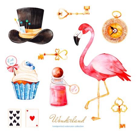 Collezione Wonderland. Acquerello magico con cupcake e bottiglia con etichetta con testo dorato, carte da gioco, orologio, fenicottero e cappello. Perfetto per carta da parati, stampa, invito, compleanno, matrimonio
