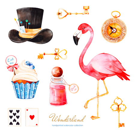 Wonderland collection.Magical watercolor set with cupcake and bottle with label with golden text, playing cards, clock, flamingo and hat.Perfect for wallpaper, print ,invitation, birthday, wedding