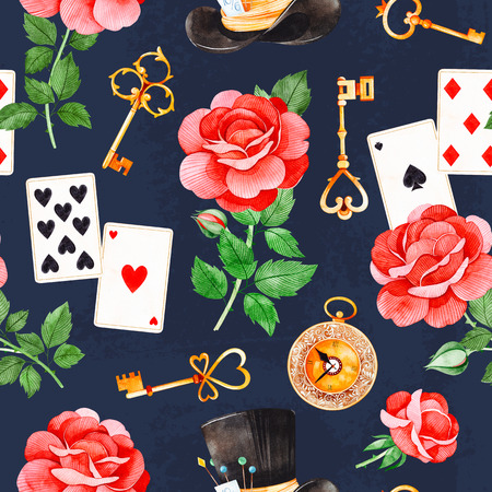 Wonderland seamless texture on dark backgrouns.Magical pattern with lovely roses, playing cards, hat, old clock and golden keys.Perfect for wallpaper, print, packaging design, covering, invitations, w 写真素材