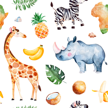 Africa watercolor seamless pattern.Safari collection with giraffe, rhino, zebra, banana, pineapple, coconut, palm leaves, africa continent etc.Perfect for wallpaper, print, packaging, invitations, baby shower Archivio Fotografico - 99919415
