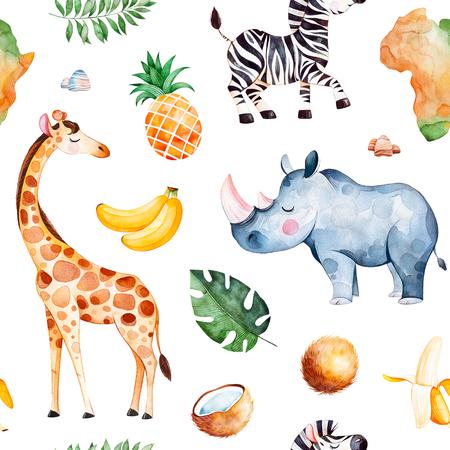 Patrón sin costuras acuarela de África Colección safari con jirafa, rinoceronte, cebra, plátano, piña, coco, hojas de palma, continente de África, etc. Perfecto para papel tapiz, impresión, empaque, invitaciones, baby shower