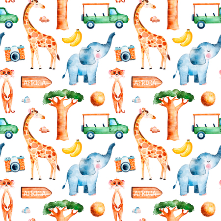 Africa watercolor seamless pattern.Safari collection with cute giraffe, elephant, meerkat, banana, wooden sign, coconut, baobab, pickup car, camera.Perfect for wallpaper, packaging, invitation, print, baby shower