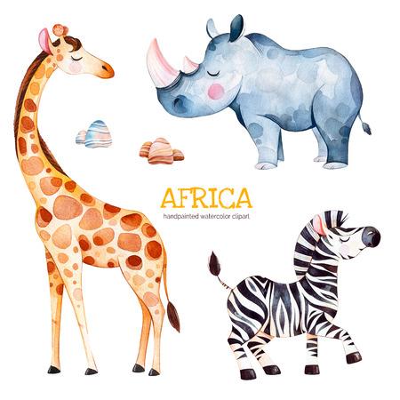 Afrika-Aquarellsatz. Safariansammlung mit Giraffe, Nashorn, Zebra, Steinen. Nette Tiere des Aquarells. Vervollkommnen Sie für Tapete, Druck, Verpackung, Einladungen, Babyparty, Muster, Reise, etc. Standard-Bild