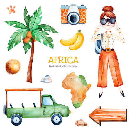 Africa watercolor set.Safari collection with palm tree, banana, coconut, wooden sign, young traveling girl, pickup car.Perfect for wallpaper, print, packaging, invitations, baby shower, patterns, travel Stock fotó