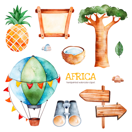 Africa watercolor set.Safari collection with pineapple, coconut, baobab, binocular, wooden sign, stones, air balloon.Perfect for wallpaper, print, packaging, invitations, baby shower, patterns, travel