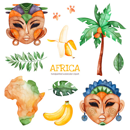 Africa watercolor set.Safari collection with palm tree, banana, leaves, African woman, men masks, Africa continent.Perfect for wallpaper, print, packaging, invitations, Baby shower, patterns, travel