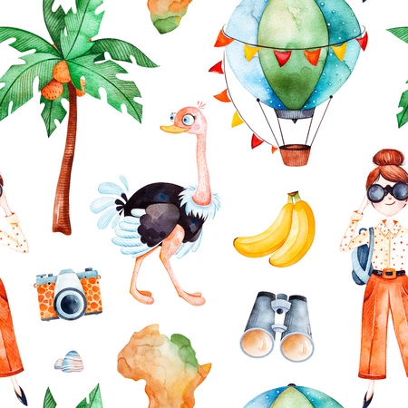 Africa watercolor seamless pattern.Safari collection with cute ostrich, banana, air balloon, binocular, photo camera, young traveling girl.Perfect for wallpaper, packaging, invitations, print, baby shower
