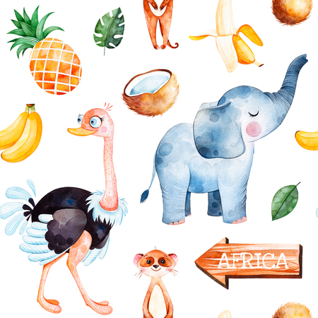 Africa watercolor seamless pattern.Safari collection with cute ostrich, elephant, meerkat, banana, pineapple, wooden sign, coconut, palm leavesPerfect for wallpaper, packaging, invitations, print, baby shower Stock Photo