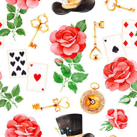 Wonderland seamless texture on white backgrouns.Magical pattern with lovely roses, playing cards, hat, old clock and golden keys.Perfect for wallpaper, print, packaging design, covering, invitations, wedding