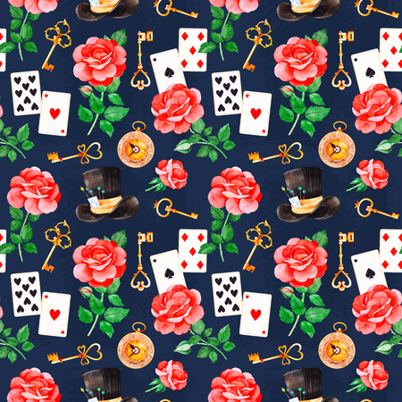 Wonderland seamless texture on dark backgrouns.Magical pattern with lovely roses, playing cards, hat, old clock and golden keys.Perfect for wallpaper, print, packaging design, covering, invitations, wedding