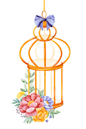 Romantic watercolor Birdcage with peony, pink, leaves, flowers, branches and bows.Watercolor bouquets for your design.Perfect for wedding, invitations, blogs, template card, birthday, baby cards, greeting