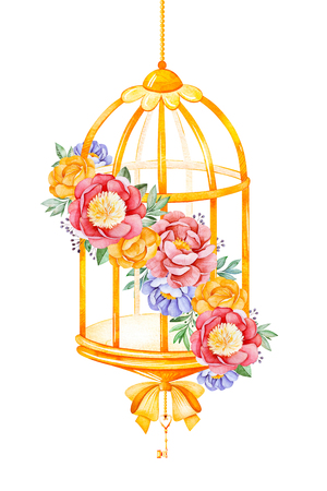 Romantic watercolor Birdcage with peony, pink, leaves, flowers, branches and bows.Watercolor bouquets for your design.Perfect for wedding, invitations, blogs, template card, birthday, baby cards, greeting, logos