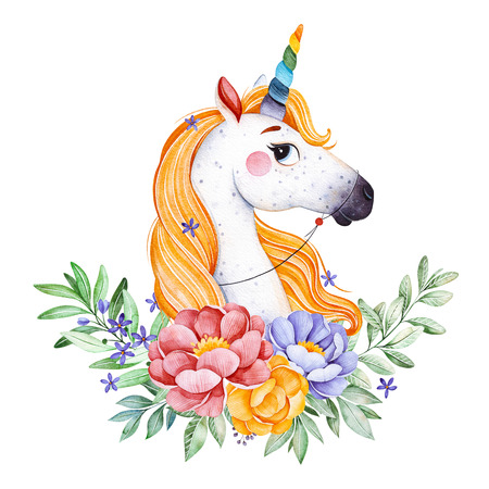 Lovely bouquet with peony, pink, leaves, flowers, branches and cute unicorn.Watercolor bouquets for your design.Perfect for wedding, invitations, blogs, template card, birthday, baby shower, greeting, logos etc.